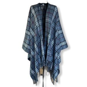 Covington Plaid Cape Shawl Wrap Fringe One Size